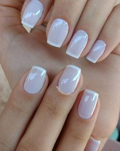 Dicas para fazer unhas francesinhas perfeitas French Manicure Acrylic Nails, French Pedicure, French Tip Nails, Manicure And Pedicure, Hair And Nails, My Nails, Square Nail Designs, Diva Nails, Nagel Gel