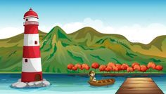 Scene with lighthouse and girl in boat illustration