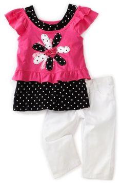 Young Hearts Girls 2-6X Floral And Polka Dot Capri Pant Set, Pink Doll, 3T $19.00