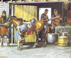 Roman Cavalrymen visit a blacksmith near Hadrian's Wall. By Ronald Embleton.
