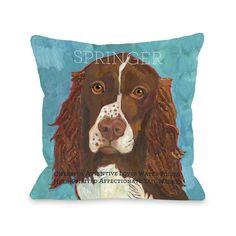 One Bella Casa Doggy Décor Springer Polyester Throw Pillow