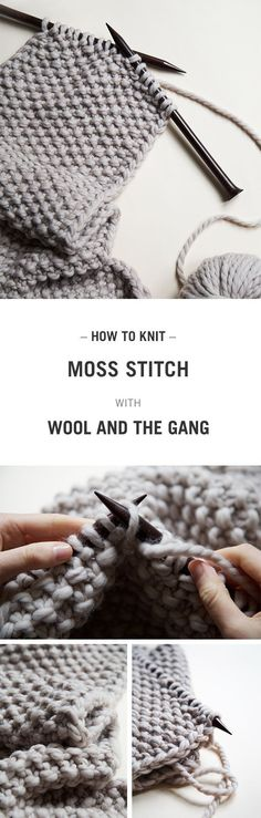 How to knit Moss/Seed Stitch with Wool and the Gang.     Apprenez le point de riz avec Wool and the Gang.