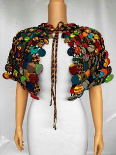 This absolutely beautiful necklace is made with carefully selected African prints and buttons, African Fashion Designers, African Print Fashion, Africa Fashion, African Fashion Dresses, African Prints, Ankara Fashion, African Attire, African Wear, African Women