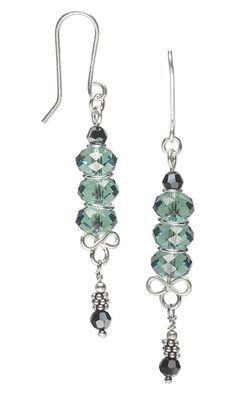 Earrings with Swarovski Crystal Beads, Sterling Silver Beads and Wirework. #earrings #sterlingsilver  #Swarovski