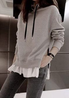 Grey Zipped Pullover Hoodie