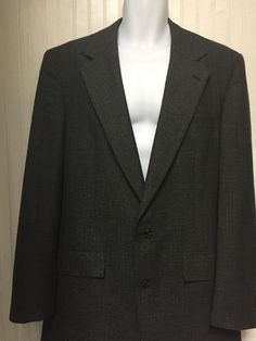 BROOKS BROTHERS MENS TWO BUTTON GRAY HOUNDSTOOTH WOOL SPORTS COAT JACKET 42L #BrooksBrothers #TwoButton