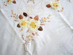 Vintage Embroidered & Felt Linen by JewelsOfHighElegance on Etsy, $20.00