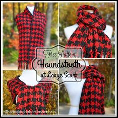The Houndstooth At Large Scarf was inspired by a friend's request for a wide, long scarf and mentioned she loved houndstooth!