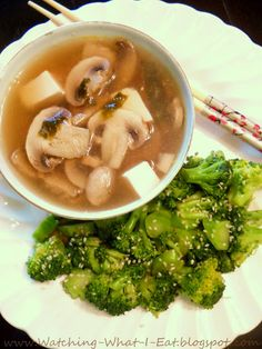 double mushroom miso soup & sesame broccoli