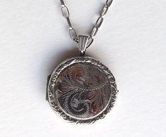 Vintage Silver Locket On A Belcher Chain Round by DaisysCabinet