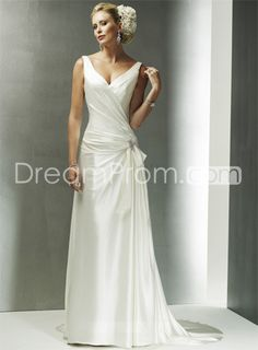 Charming A-line V-Neck Sleeveless Floor-length Chapel Vintage Wedding Dresses