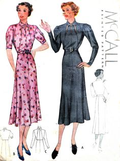 1930s Dress Pattern McCall 9074 Gored Skirt Day or Evening Dress Cutout Bodice Gathered Sleeves Womens Vintage Sewing Pattern Bust 42