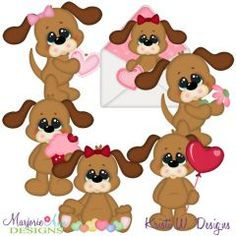 Valeintine Dogs SVG Cutting Files + Clipart