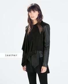 LEATHER JACKET WITH POINTED HEM