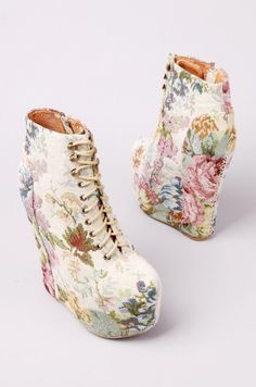 Jeffrey Campbell Damsel Lace Up Platform Bootie in Natural Floral featuring floral tapestry upper and side zip closure. Dream Shoes, Crazy Shoes, Me Too Shoes, Hot Shoes, Wedge Shoes, Shoes Heels, Prom Heels, Heel Boots, Cute Boots