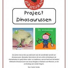 Project-dinosaurussen Ga samen met je klas op onderzoek naar de wonderlijke wereld van dinosaurussen! Bestudeer deze dieren als een echte archeoloog in de themahoeken en geef stoere reken- en taallessen, aan de hand van de boeken Willewete Dinosaurussen van Jozua Douglas en Barbara van Rheenen, en De archeoloog van Liesbet Slegers.