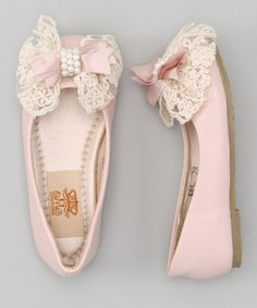 Love this Mia Belle Baby Pink & Crème Pearl Bow Ballet Flat by Mia Belle Baby on #zulily! #zulilyfinds