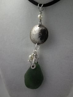 Seaglass and dime pendant with pearls and by PelletierWireDesigns, $22.00