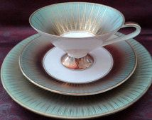Rare S&C Bavaria, Elfenbein Porzellan collector's trio, around '30s-'50s (cup-saucer plate), porcelain, Sammeltassen golden+ green trimming