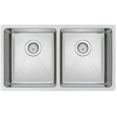 Finding Water Creation SSS-U-3118A 31 x 18 50/50 Double Bowl Stainless Steel Hand Made Undermount Kitchen Sink with Coved Corners, Drains and Strainers