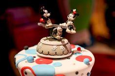 Vintage Mickey and Minnie cake topper.  #Disney #wedding #MickeyMouse