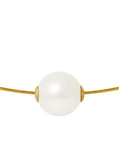 9mm White Pearl & Gold Passing Through Necklace