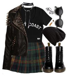 """Untitled #943"" by zarryalmighty ❤ liked on Polyvore featuring Jones New York, Dr. Martens, Free People, Retrò and tartanskirt"
