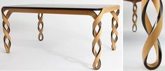 Brooklyn=based designer Paul Lobach's Watson Table - named for the American Scientist who discovered the helical shape of DNA.  Those table legs say it all.