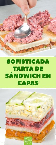 Sofisticada tarta de sándwich en capas. Tarta fría de sándwich vegetal con salmón, remolacha y ensalada de huevo #sandwichvegetal #salmonahumado #tartafria #tartasalada #tartavegetal #ensaladadehuevo #tartadepan #pandemolde #pantostado Sandwich Torte, Sandwiches, Baked Strawberries, Food Garnishes, Savoury Cake, Party Snacks, Chorizo, Recipies, Toast