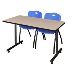 Kobe 48 inch x 24 inch Beige Mobile Training Table and 2 'M' Stack Chairs, Multiple Colors, Black