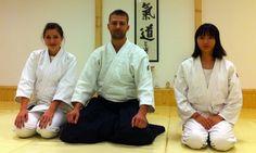 Our Japanese guest and Panni Becságh with Dojochosi at Aikido Shurenkan Dojo - Hungary, Pilisszentiván; 2012