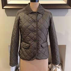 UK SIZE XS 8 WOMENS MARKS & SPENCER KHAKI GREEN QUILTED JACKET CASUAL CORD TRIM #MarksSpencer #SemiFittedQuilted #Casual