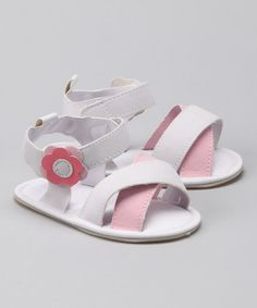 Take a look at this Rugged Bear White & Pink Flower Crisscross Sandal by Rugged Bear on #zulily today!