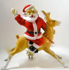 SALE Vintage Santa Claus Riding a Reindeer Light