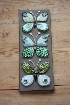 RESERVED FOR cat 4sun / Wonderful butterflies wall plaque in ceramic from Jie Sweden