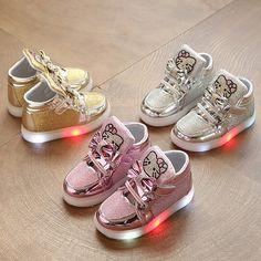 Kids girl luminous sneakers Shoes Spring Hello Kitty Rhinestone glowing  Shoes for Girls Princes led sneaker children EU - Kid Shop Global - Kids    Baby Shop ... 4fb16a16cc9c