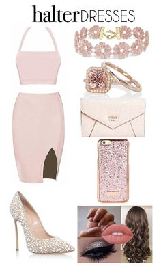 """Halter Dresses"" by xcoordinatingfashionx ❤ liked on Polyvore featuring Casadei, GUESS, BaubleBar, Lime Crime and halterdresses"