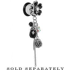 "1/2"" Steel Black Gem Glamour Flower Dangle Plug | Body Candy Body Jewelry #bodycandy #plugs #gauges"