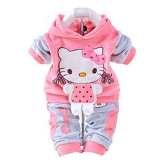 Awesome New 2017 Autumn Baby Kids Set Velvet Hello Kitty Cartoon T Shirt Hoodies Pant Twinset Long Sleeve Velour Children Clothing Sets - $25.17 - Buy it Now!