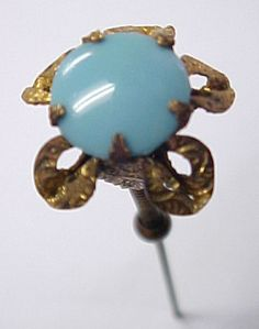 "Very RARE ""Trembler"" Antique Victorian Turquoise Glass hatpin Hat Pin"