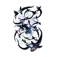 'Shark Frenzy Blue' A2 Giclee Pearl paper. www.roscobrittin.com #sharkart #scifiart #sharks #sharkprint