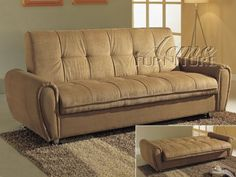 Adjustable Futon Sofa with Storage in Tan Microfiber *** Click on the image for additional details.Note:It is affiliate link to Amazon.
