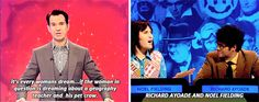 "And when Jimmy Carr accurately described them as a pair. 27 Times ""The Big Fat Quiz Of The Year"" Made You Literally LOL British Humor, British Comedy, Mock Of The Week, Jimmy Carr, English Comedy, Richard Ayoade, The Mighty Boosh, Noel Fielding, Comedy Show"