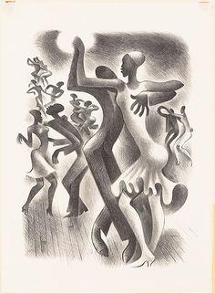 Miguel Covarrubias (Mexican, 1904-1957). Figures engaged in dance known as 'The Lindy Hop', 1936. The Metropolitan Museum of Art, New York.Harris Brisbane Dick Fund, 1940 (40.92.8). #MetonPaper100