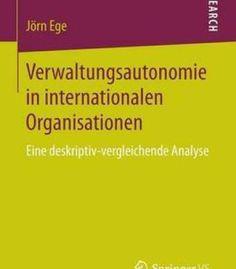 Verwaltungsautonomie In Internationalen Organisationen PDF