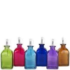 Couronne Co   Metal Pour Spout Bottles   Assorted Colored Roma Glass Bottles  (will have to create acct & login for pricing)