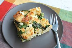 source:prettybalance  Spinach Bread Pudding with Feta and Lemons