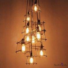Ten-light Wrought Iron Branched Industrial Multi-light Pendant - Beautifulhalo.com