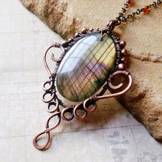 Aruna  Ornate Rainbow Labradorite Necklace in by SihayaDesigns, $72.00