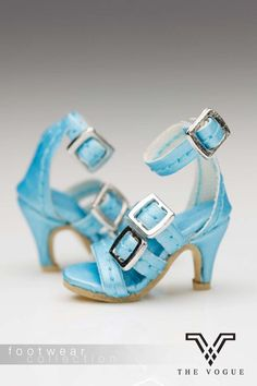 B1006-09 Blue Leather Designer Fashion High Heels Shoes - Limited Edition